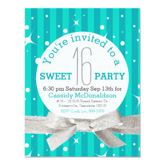 """Turquoise Blue Sweet 16 Birthday Party 4.25"""" X 5.5"""" Invitation Card"""