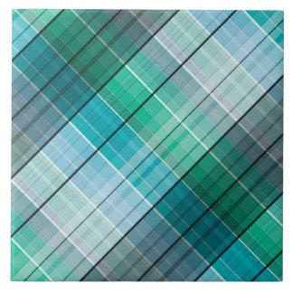 Turquoise blue tartan tile