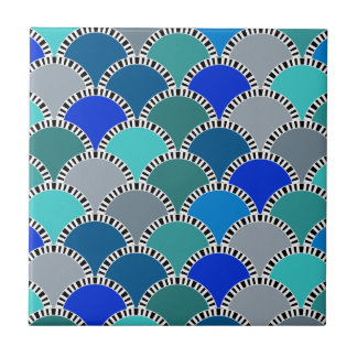 Turquoise Blue Teal Gray Scales Pattern Tile