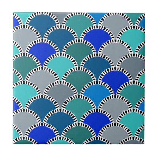 Turquoise Blue Teal Grey Scales Pattern Small Square