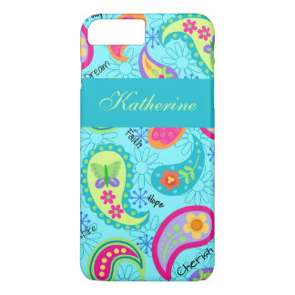 Turquoise Blue Teal Paisley Personalized Name iPhone 7 Plus Case