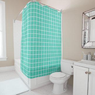 Turquoise Blue Tile Shower Curtain