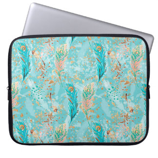 Turquoise Blue Tribal Chic Feathers Laptop Sleeve