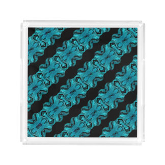 Turquoise Blue Unique Pattern/Stripes Acrylic Tray