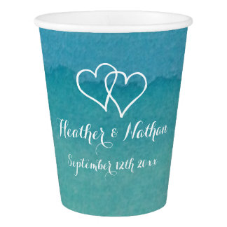 Turquoise blue watercolor beach wedding party cups
