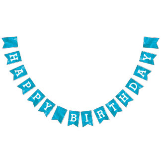 Turquoise Blue Watercolor Happy Birthday Bunting