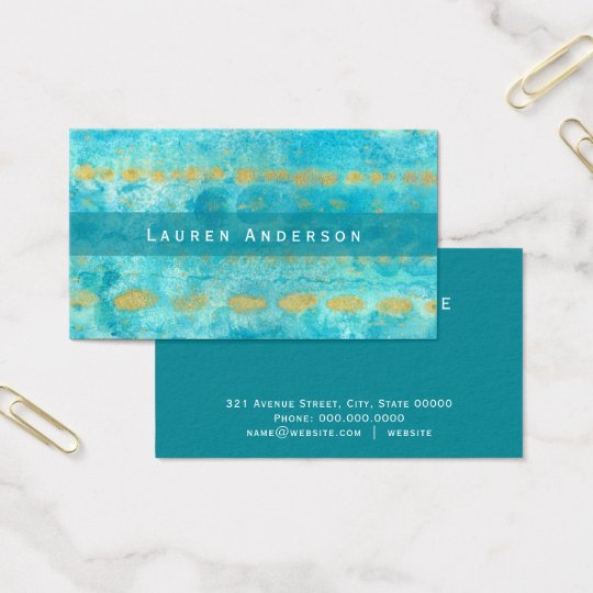 Turquoise blue with gold watercolor art business card