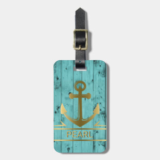 Turquoise Blue Wood Gold Nautical Anchor Travel Luggage Tag