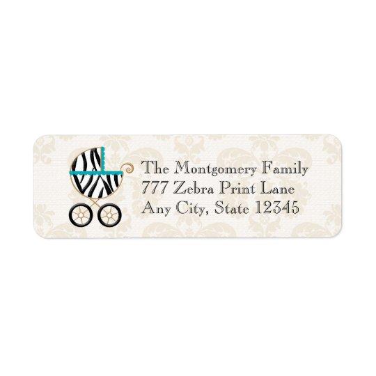 Turquoise Blue Zebra Print Baby Carriage Return Return Address Label