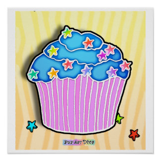 Turquoise Blueberry Frosted Pink CUPCAKE POSTER