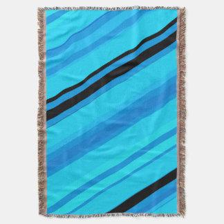 Turquoise Blues Black Stripes Throw Blanket
