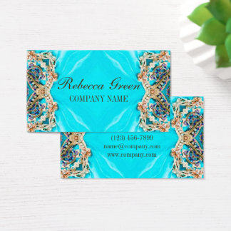 turquoise bohemian henna Pattern Yoga Instructor Business Card