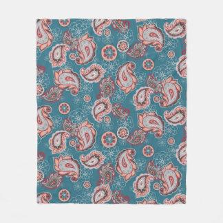 Turquoise Boho Paisley Fleece Blanket