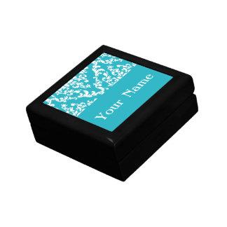 Turquoise Bold Damask w/ name @ Emporiomoffa Small Square Gift Box