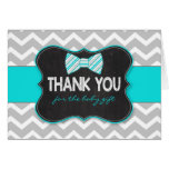 Turquoise Bow tie baby shower thank you note Note Card
