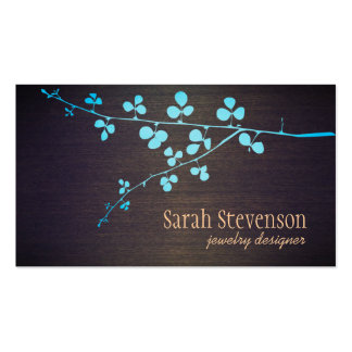 Turquoise Branch Wood Grain Stylish Designer Pack Of Standard Business Cards