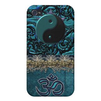 Turquoise Brocade with Symbols and Metallic Trim iPhone 4 Case