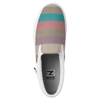 Turquoise, brown and dusty rose striped printed shoes
