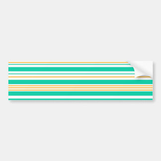 Turquoise brown and white stripes bumper sticker