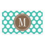 Turquoise & Brown | Big Polka Dots Monogrammed Pack Of Standard Business Cards