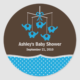 Turquoise & Brown Elephant Mobile Baby Shower Round Sticker