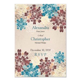 Turquoise Brown & Ivory Flowers Retro Wedding RSVP 9 Cm X 13 Cm Invitation Card