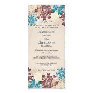 Turquoise, Brown & Ivory Flowers Retro Wedding S5 10 Cm X 24 Cm Invitation Card