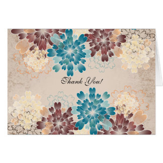 Turquoise Brown Ivory Flowers Wedding Thank You Note Card