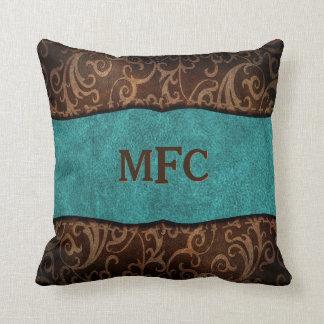 Turquoise Brown Old World Vegan Leather Monogram Cushion