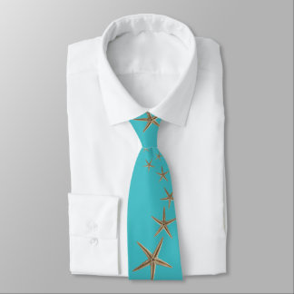 Turquoise Brown Skinny Starfish Tie