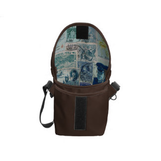 Turquoise Brown Small Travel Bag, Vintage Stamps Courier Bags