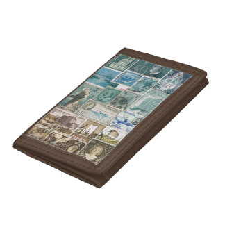 Turquoise Brown Wallet, Coastal Landscape Seascape Tri-fold Wallets