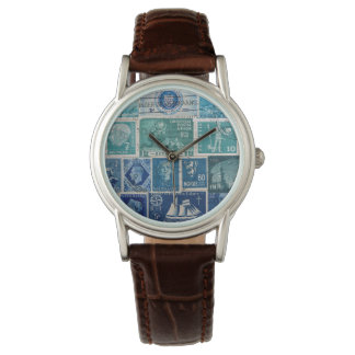 Turquoise-Brown Watch, Postage Stamp Collage Art Watch