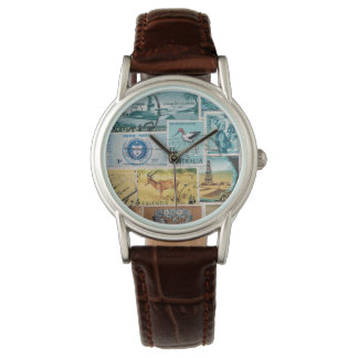 Turquoise Brown Wristwatch, Postage Stamp Art Watch