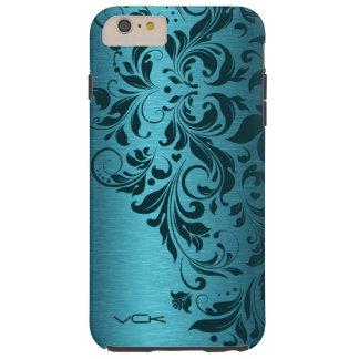 Turquoise Brushed Aluminum & Floral Lace Tough iPhone 6 Plus Case