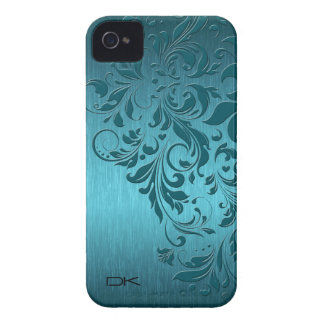 Turquoise Brushed Aluminum Look & Floral Lace Case-Mate iPhone 4 Case