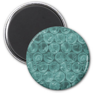 Turquoise bubble wrap pattern 6 cm round magnet