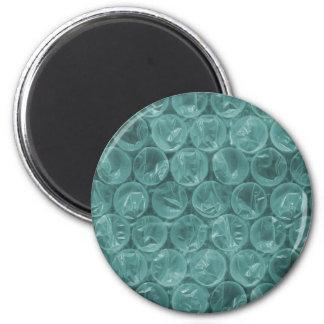Turquoise bubble wrap pattern 6 cm round magnet