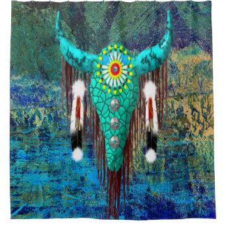 Turquoise Buffalo Skull Shower Curtain