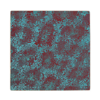 Turquoise Burgundy Swirly Abstract Maple Wood Coaster