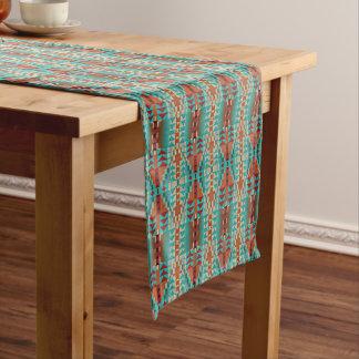 Turquoise Burnt Orange Brown Mosaic Pattern Medium Table Runner