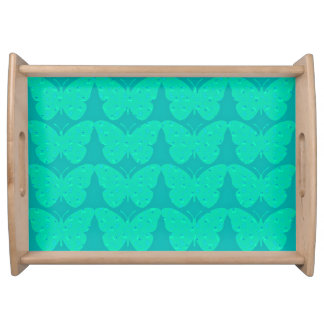 Turquoise Butterflies(c )LRG_Country Print_Design Serving Tray