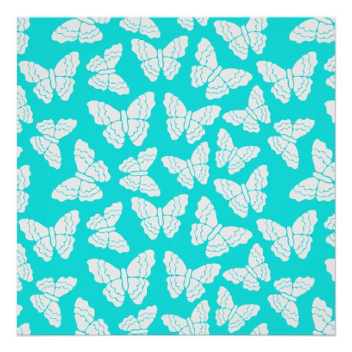 Turquoise butterflies Poster