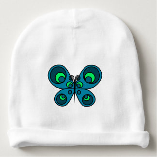 Turquoise Butterfly Baby Beanie