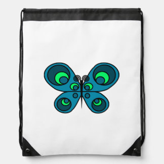 Turquoise Butterfly Drawstring Backpack
