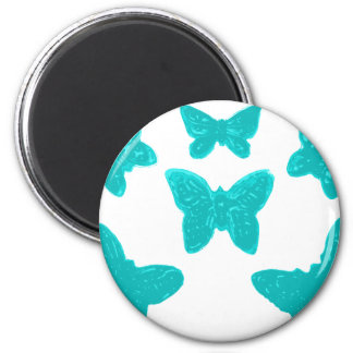 Turquoise Butterfly Pattern Fridge Magnets