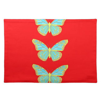 Turquoise Butterfly Red & Gold gifts  by Sharles Placemats