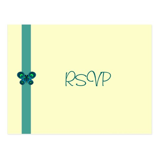 Turquoise Butterfly Ribbon RSVP Postcard