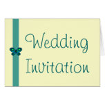 Turquoise Butterfly Ribbon Wedding Invitation Cards