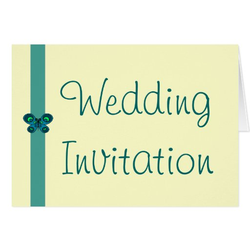 Turquoise Butterfly Ribbon Wedding Invitation Greeting Card